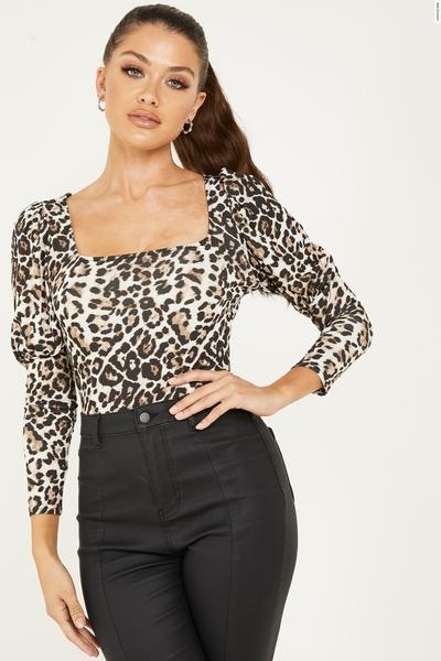 Stone Leopard Print Puff Sleeve Bodysuit
